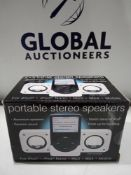 RRP £100 Lot To Contain 29 Brand New Boxed Portable Mini Stereo Speakers With Dynamic Sound And Styl