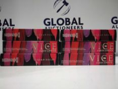 RRP £150 Gift Bag To Contain 6 Brand-New Unused Testers Of Urban Decay Vice Lipsticks In Assorted Sh