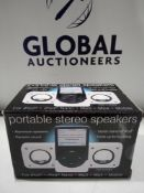 RRP £120 Lot To Contain 40 Brand New Boxed Portable Stereo Speakers For Ipod Mp3 Mp4 And Mobiles Wi