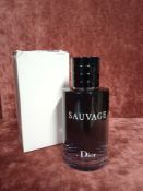 RRP £80 Boxed 100Ml Tester Bottle Of Dior Sauvage Edt Spray