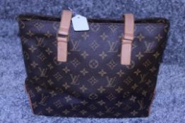 RRP £1.260 Louis Vuitton Cabas Piano Shoulder Bag, Brown Monofram Coated Canvas, Vachetta Handles,