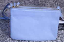 RRP £890 Celine Small Shoulder Bag, Blue Small Grained Claf Leather With Blue Leater Handles.