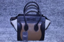 Rrp £1,500 Celine Luggage Tricol Handbag, Céline 'Mini Luggage'. Open Swith A Zipper On Top And Is