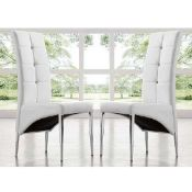 RRP £200 - Boxed New 2 'Vesta' White Dining Chairs