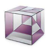 RRP £150 (In Need Of Attention) Julien Macdonald Crystal Glass Two Tone Cube Side Table (No Drawers)