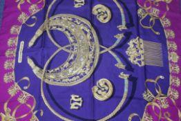 RRP £580 Hermes 100% Twill Silk Magenta Purple 90X90Cm Les Cavaliers D'Or By Vladimir Rybaltchenko