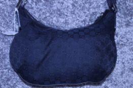RRP £1,080 Gucci Messenger Shoulder Bag, Black Mongrame Canvas, 32X24X2Cm (Production Code 181092-