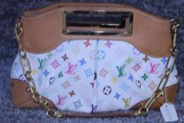 RRP £1750 Louis Vuitton Judy Mm White Coated Canvas Multicolour Vachetta Shoulder Bag With Golden
