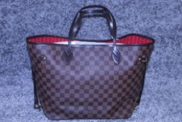 RRP £1300 Louis Vuitton Neverfull Shoulder Bag In Brown Coated Canvas With Vachetta Handles (