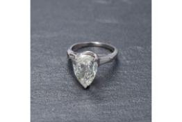 RRP £18,500 Platinum 2.3 Carat Diamond Pear Drop Ring
