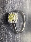 RRP £20,250 White Gold Intense Yellow And White Halo 18 Carat Diamond Set Cluster Ring