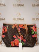RRP £2700 Louis Vuitton Neverfull Roses Monogram Coated Canvas Brown Shoulder Bag
