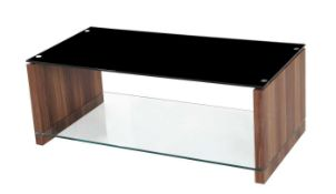 RRP £270 - Boxed 'Atlanta' Coffee Table In Walnut Finish With Black Glass Top