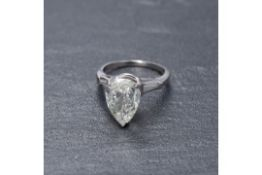 RRP £18,500 Platinum 2.3 Carat Diamond Pear Drop Ring (Appraisals Available On Request) (Pictures
