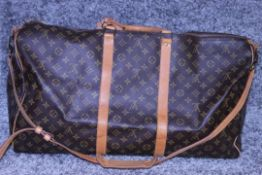 RRP £1,800 Louis Vuitton Keepall 60 Bandouliere Travel Bag, Brown Coated Canvas Monogram, 60X26X31Cm