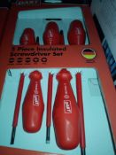 RRP £150 Lot To Contain 5 Boxed Set Of 5 Piece Insulated Screwdrivers