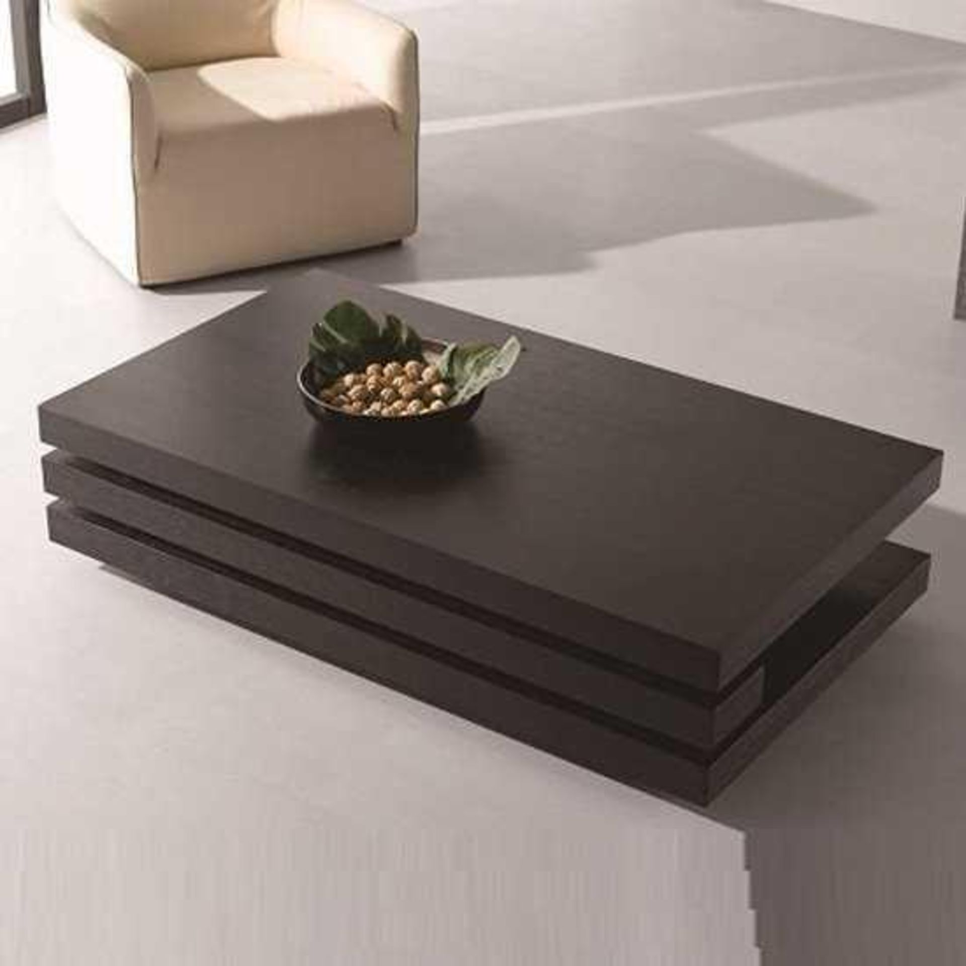 RRP £270 - Boxed 'Palma' Rectangular Coffee Table In Black Oak Veneer