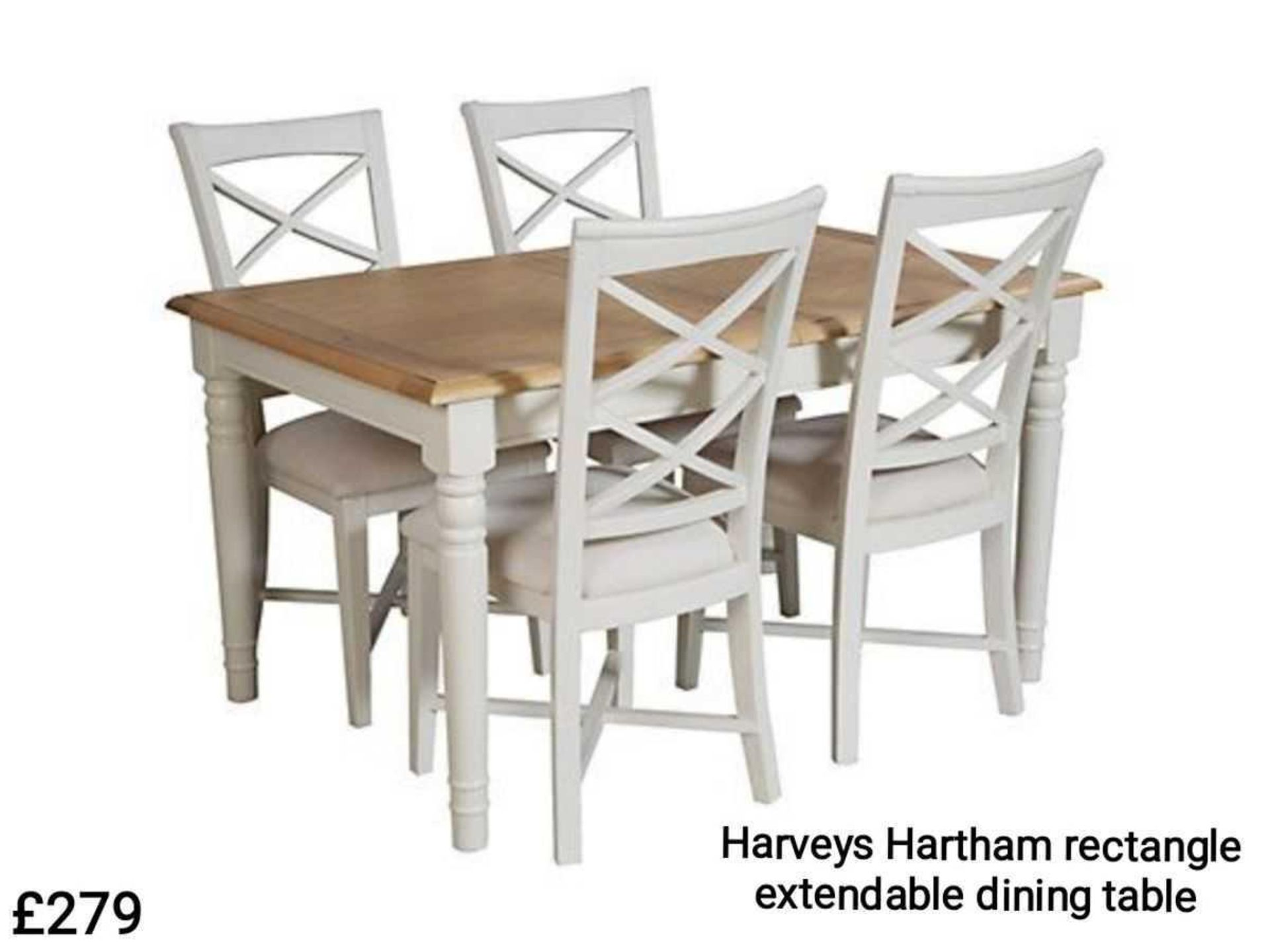 RRP £450 - Boxed 'Hartham' Extending Rectangular Dining Table In Oak And Cream