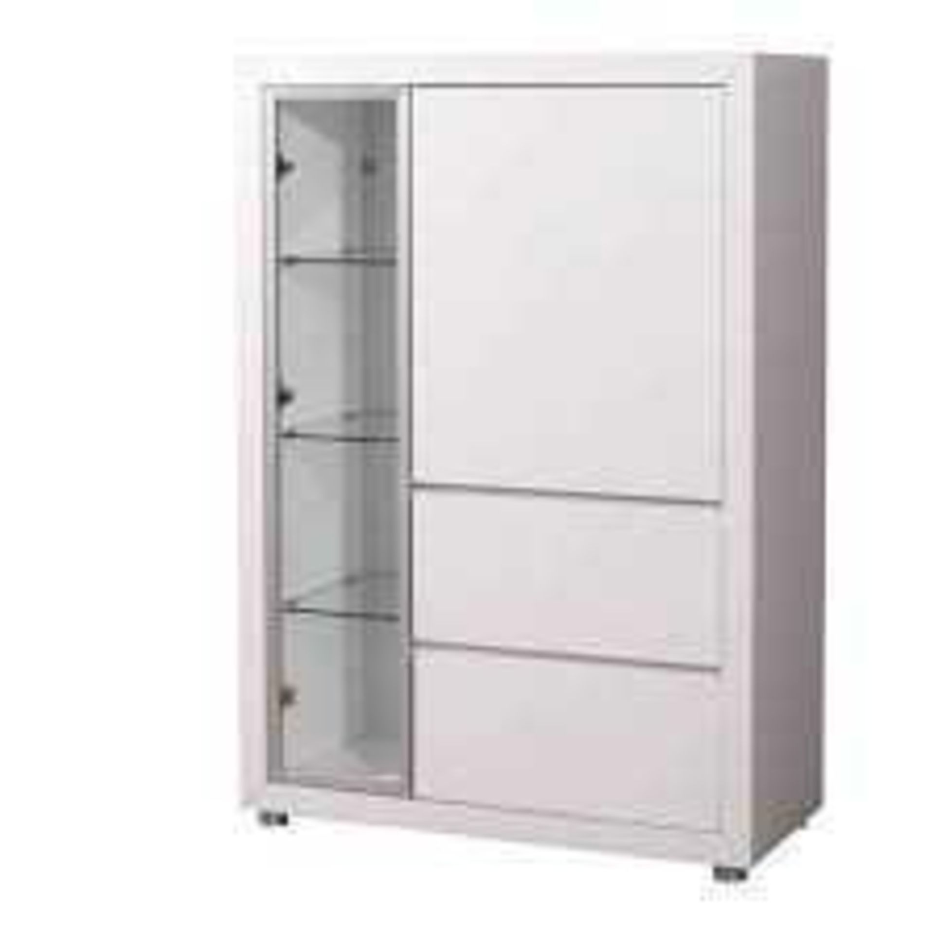 RRP £200 - New Boxed 'Fino' 2 Door Display Cabinet In White High Gloss