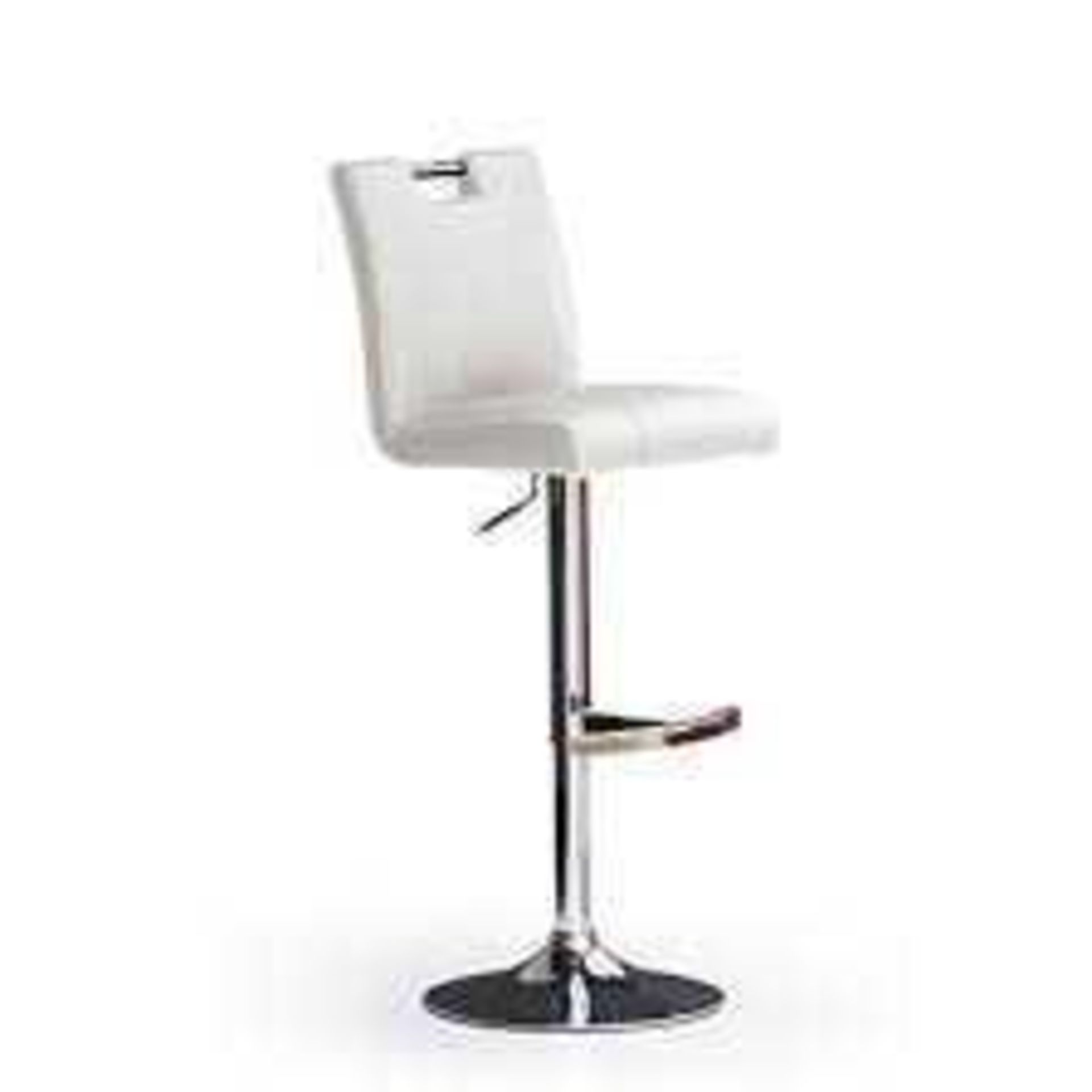 RRP £100 - Boxed 'Casta' Barstool In White Faux Leather With Chrome Base