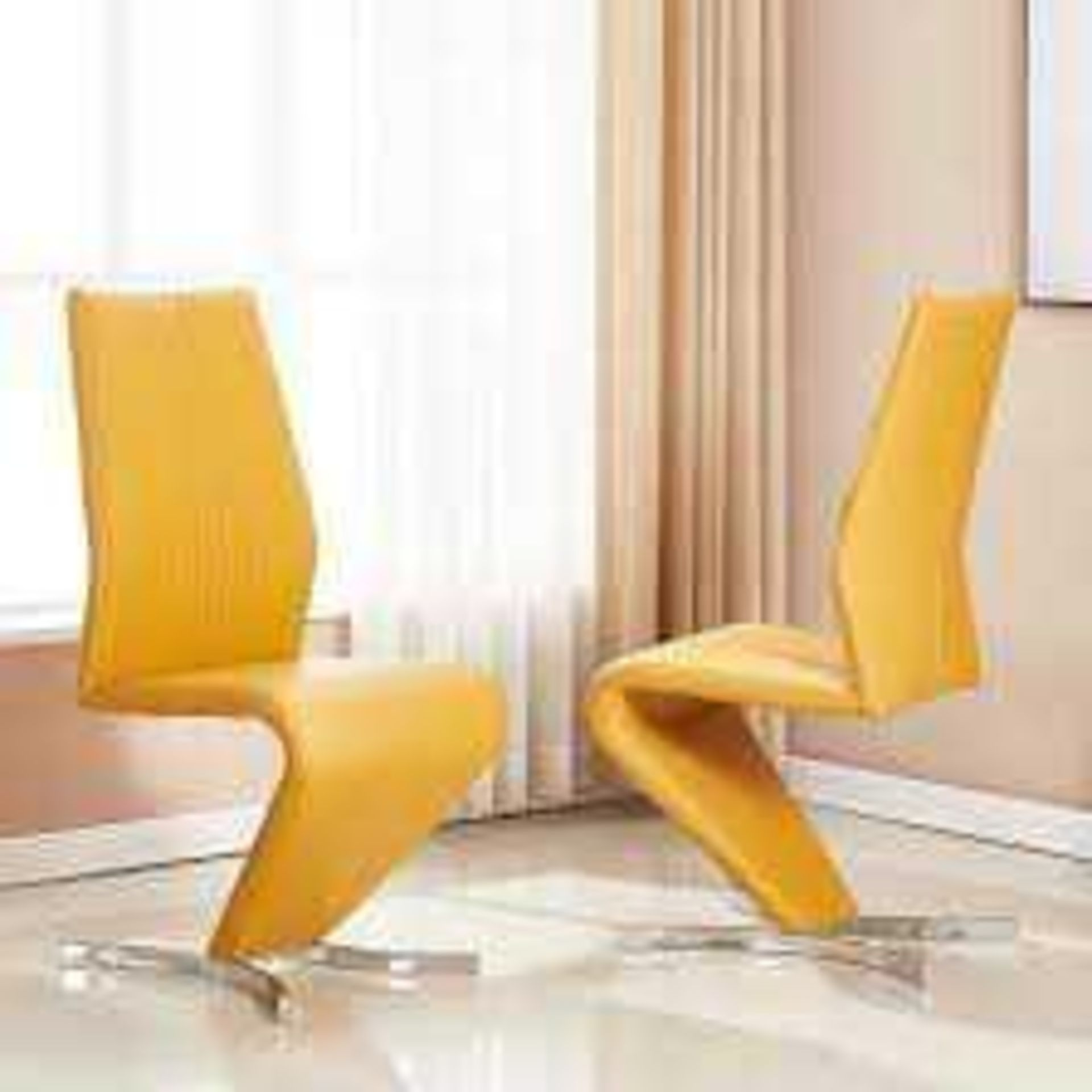 RRP £200 - Boxed 2 'Gia' Dining Chairs In Curry Faux Leather With Chrome Base
