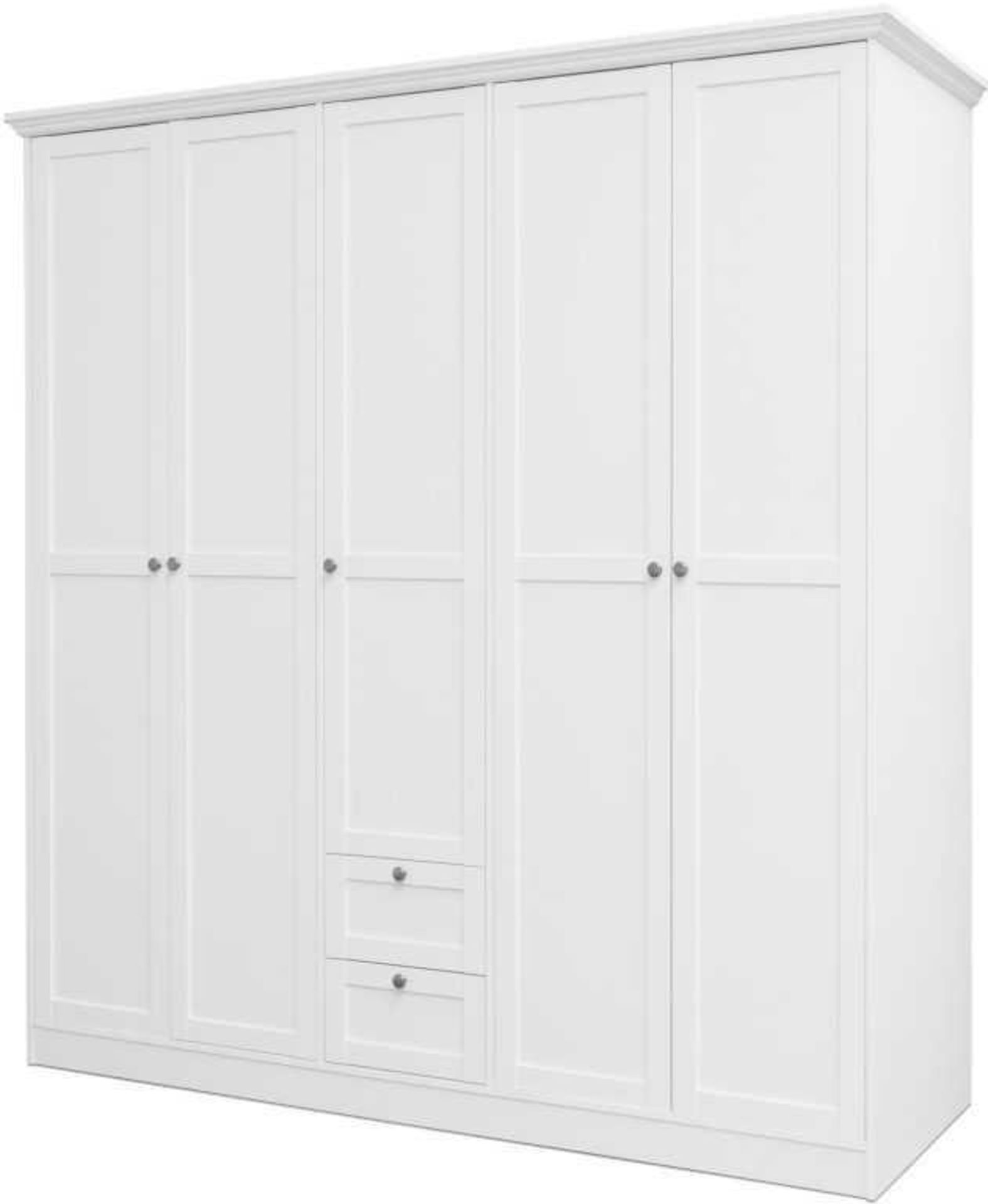 RRP £400 - Boxed 'Landwood 19' Large White Wardrobe With 5 Doors And 2 Drawers