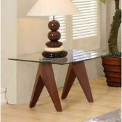 RRP £110 - Boxed 'Vision' Lamp Table In Walnut Finish With Square Glass Top