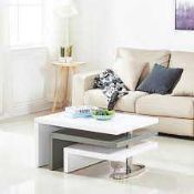 RRP £220 - Boxed 'Design' Rotating Coffee Table In White And Grey High Gloss (Appraisals Available