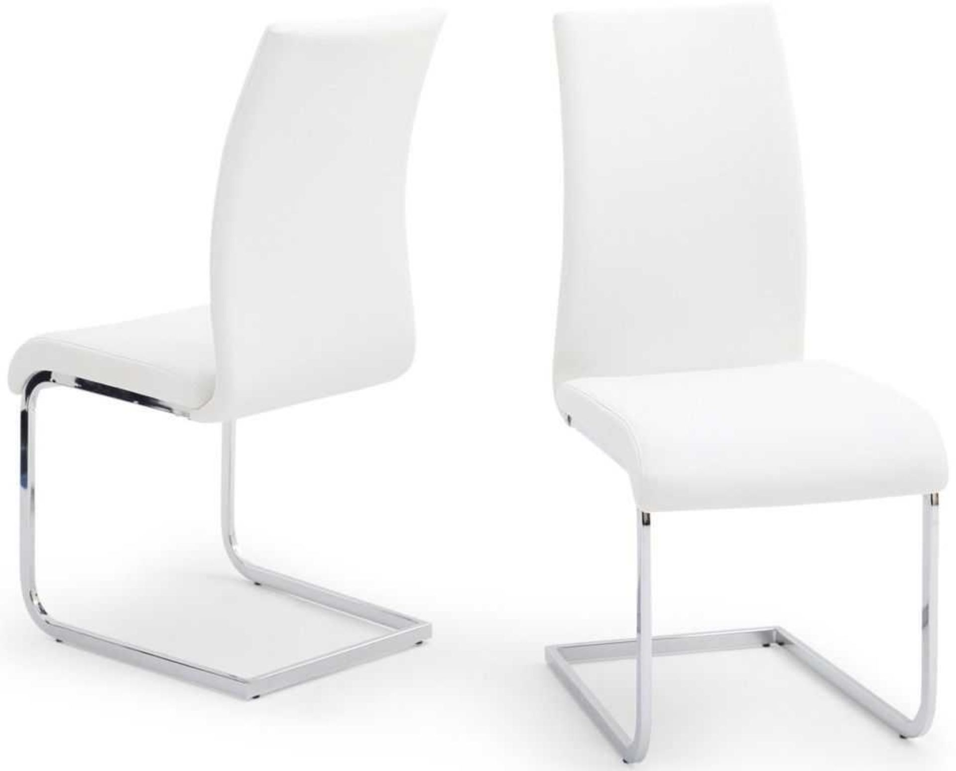RRP £200 - Boxed 2 'Lotus' White Dining Chairs (Appraisals Available On Request) (Pictures For