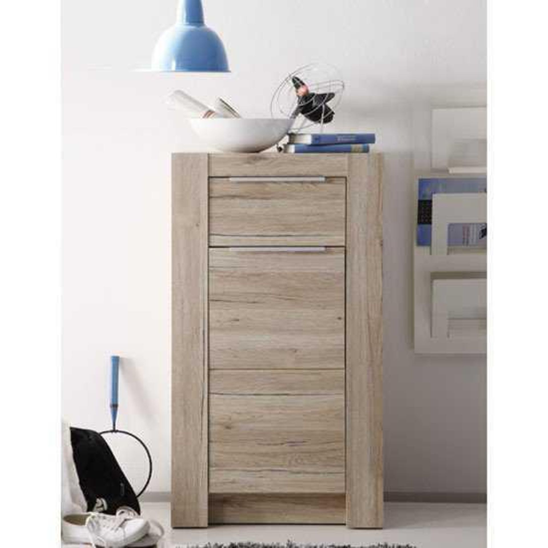 RRP £100 - New Boxed 'Cougar' Oak Finish 1 Drawer 1 Door Chest