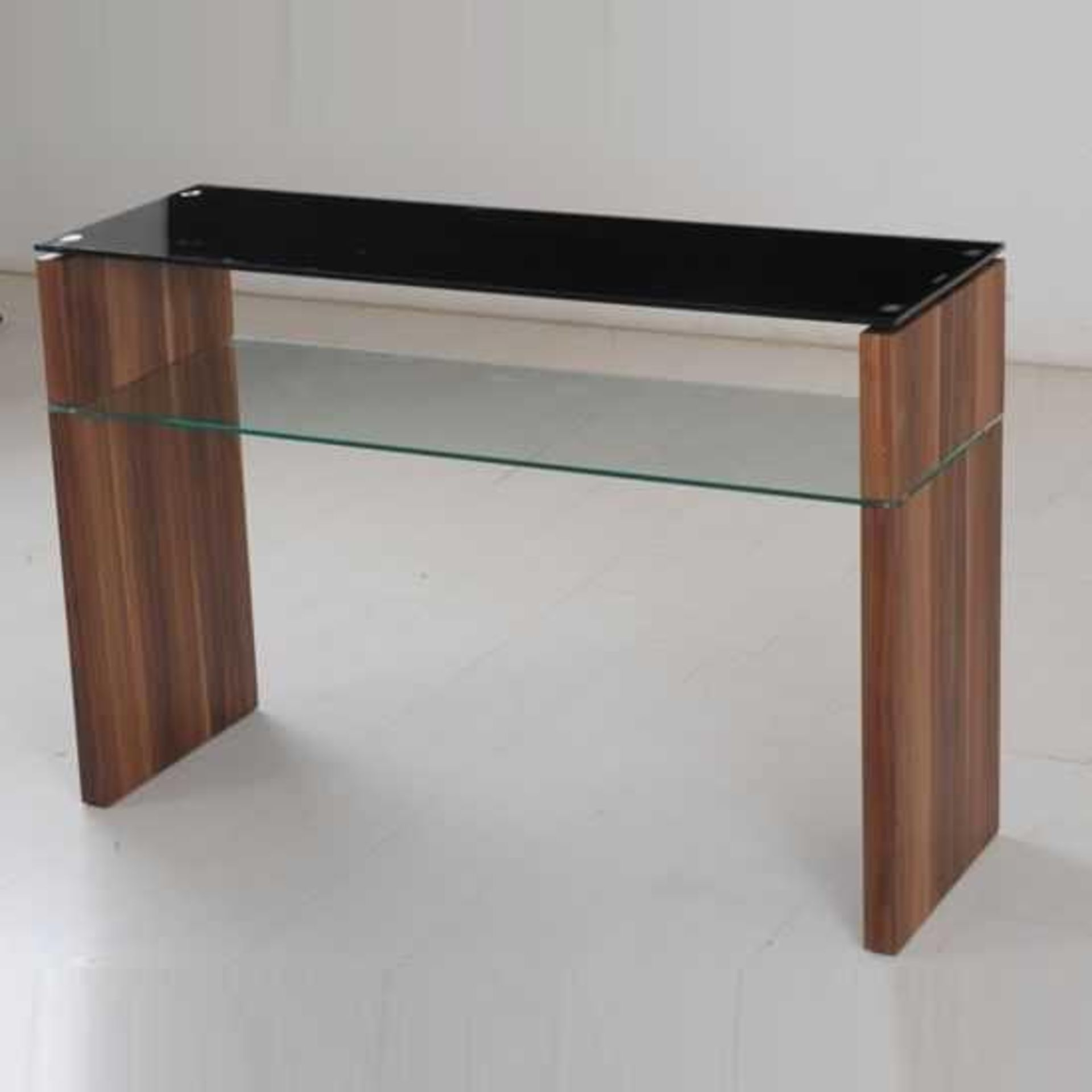 RRP £290 - Boxed 'Atlanta' Console Table In Walnut Finish With Black Glass Top (Appraisals Available