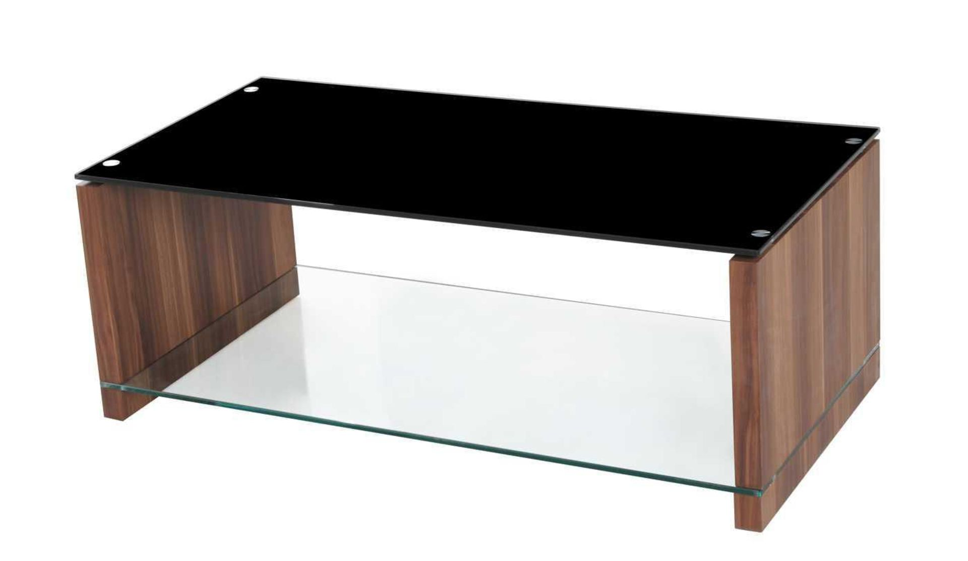 RRP £270 - Boxed 'Atlanta' Coffee Table In Walnut Finish With Black Glass Top (Appraisals