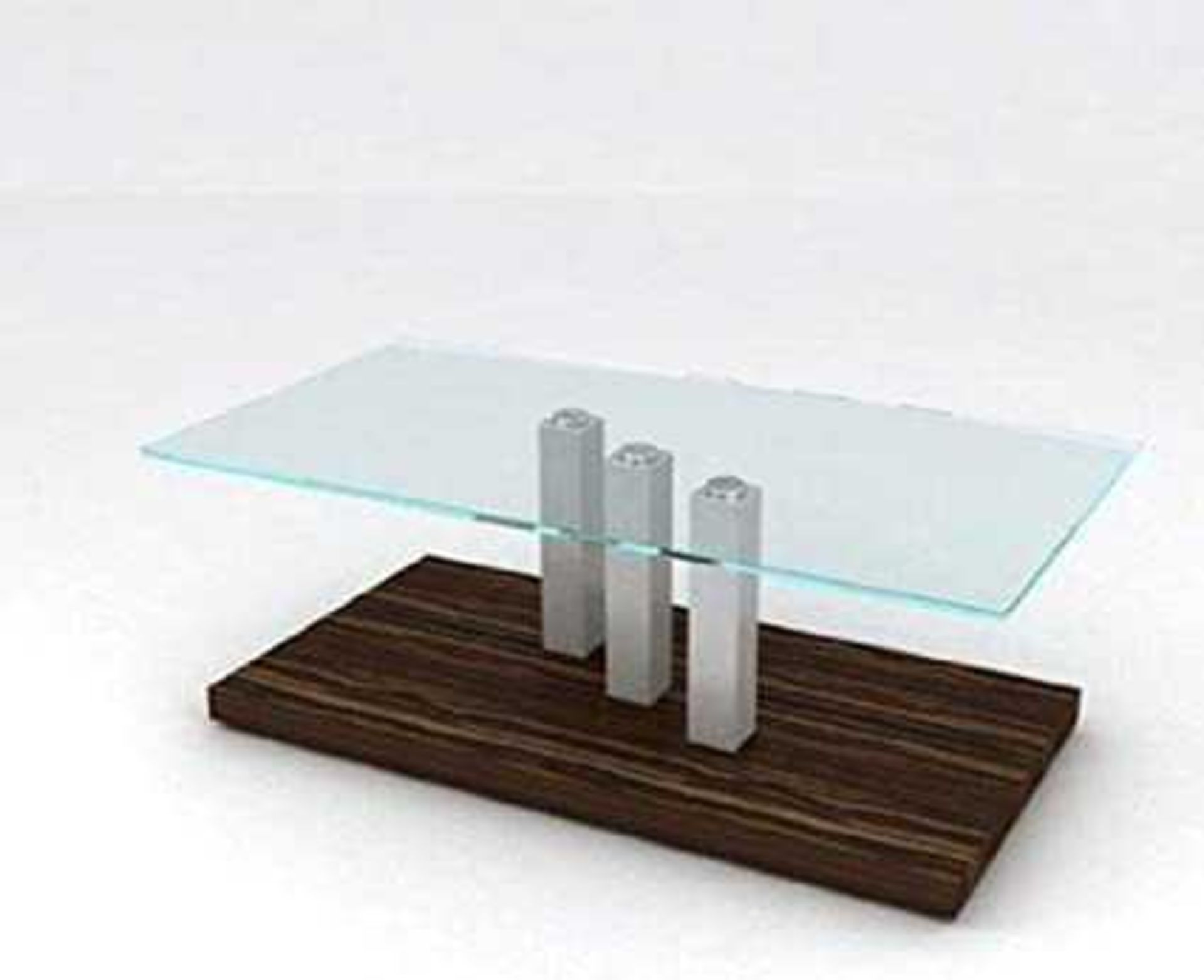 RRP £230 - Boxed 'Aston' End Table In Walnut Finish With Clear Glass Top (Appraisals Available On