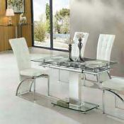 RRP £300 - Boxed 'Enke' Extending Dining Table In Clear Glass And Chrome