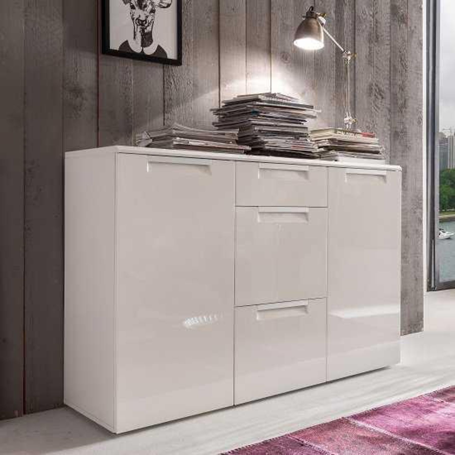 RRP £340 - New Boxed 'Alu-Line' 2 Door 3 Drawer Sideboard In White High Gloss