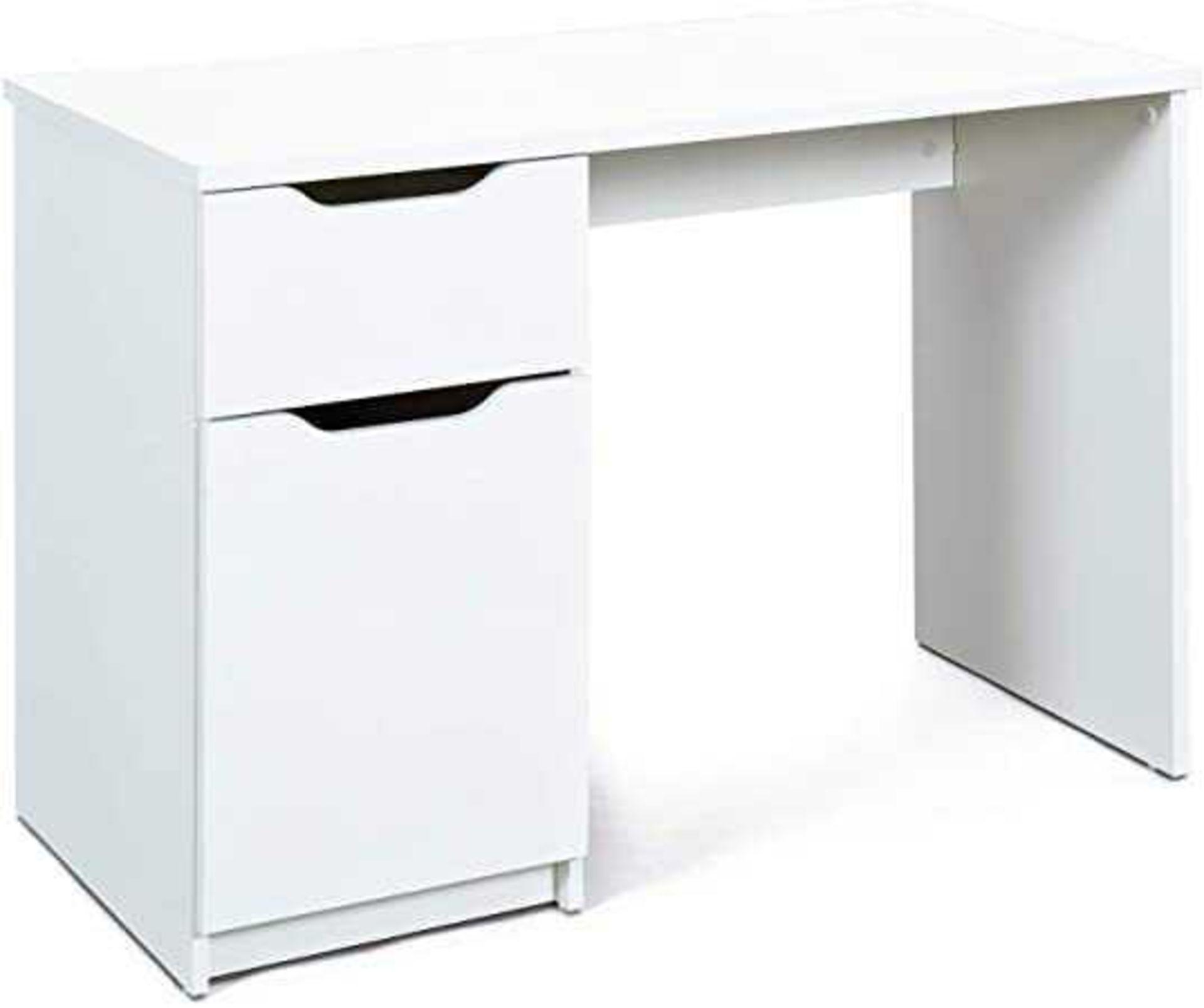 RRP £190 - Boxed 'Westphalen' 1 Door, 1 Drawer Office Desk In White Melamine Coated Wood
