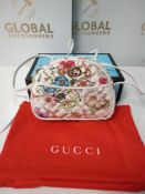 RRP £950 Boxed Gucci Trapuntata Floral Imprint Canvas White Leather Camera Bag, Aap0205, Grade A (