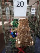 RRP £350 Cage To Contain 2 Ex Display Debenhams Designer Christmas Trees In Green And Gold With Asso