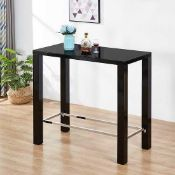 RRP £300 - Black 'Jam' Rectangular Bar Table In High Gloss Finish (Appraisals Available On