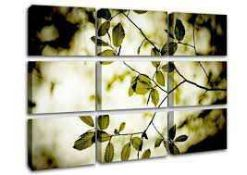 Combined RRP £110 Lot to Contain Three Twigs With Green Leaves Forest Canvas'