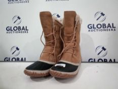RRP £120 Unboxed Sorel Impermeable Suede Boots In Tan Size 5