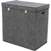 RRP £110 Unboxed John Lewis House Collection Grey Felt Double Laundry Storage Box