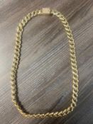 RRP £21,450 Cuban Link Curb Chain In 14ct Yellow Gold (Weight 247g) With 29 Diamond .775ct