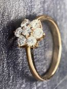 RRP £2950 9Ct Yellow Gold 7 Stone Diamond Cluster In A Daisy Design Each Diamond Is 3.3Mm Approx