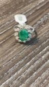 RRP £4,500 18Ct White Gold Cluster Dress Ring Comprising Of A Central Oval Cut Emerald 10.3Mm X8.3Mm