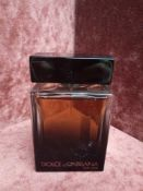 RRP £70 Unboxed 100 Ml Tester Bottle Of Dolce And Gabbana The One For Men Eau De Parfum Ex-Display