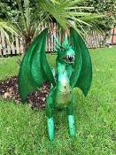 Combined RRP £100 Lot To Contain Handmade And Pained Green Dragon Ornaments