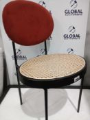 RRP £150 Unboxed Designer Stool With Burnt Orange Fabric And Woven Style Seat