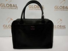 RRP £2840 Chanel Front Pocket Logo Tote Black Calf Leather (Aa07663) Grade Ab (Appraisals