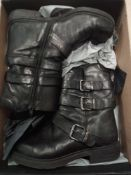 RRP £150 Boxed John Lewis Ladies Otter Buckle Leather Boots In Black Size 7